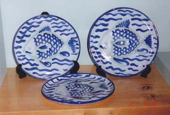 Blue White Plates fish Dec