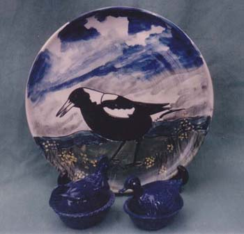 Magpie Platter and Duck Pots